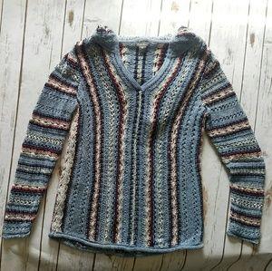 Eddie Bauer Long Sleeve V-Neck Hooded Knit